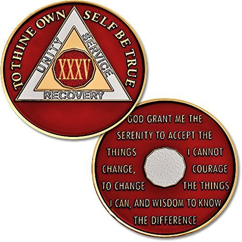 "35 Year - AA Chip Proof-like Bronze with Tri-Plate - Gold, Nickel, and Red Enamel - 1 3/8"" [Traditional Coin Size] by Northwest Territorial Mint"