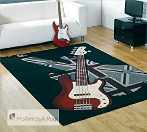 Black Retro Rug With Guitar Music Design With Union Jack
