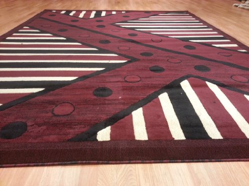 E526 Contemporary Modern Transitional Burgundy Red 5x8 Actual Size 5'3x7'2 Rug