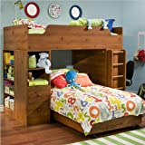 South Shore Logik Twin Over Twin L-shaped Wood Loft Bunk Bed In Sunny Pine  ....