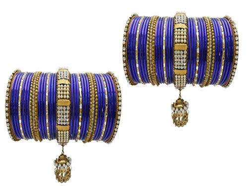 Blue Bridal Chura Wedding Bangles Chuda By My Design(size-2.6)