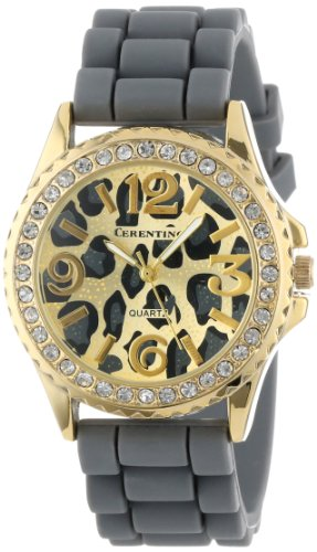 Cerentino Women'S Cr101-Gry  Grey Silicone Rubber Leopard Print Dial Watch