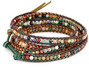 Chan Luu Mixed Semi Precious Stones on Leather with Contrasting Thread Bracelet
