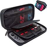 [New Model] ButterFox Hard Case Stand for Nintendo Switch,Fits Wall Charger,Built-in Stand, 19 Game card holders, Large Pouch Case for Nintendo Switch Console and Accessories Red/Black (Black)