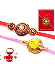 Ethnic Rakhi Fashionable And Stylish Rajasthani Colorful Floral Pattern Mauli Thread And Beads Rakhi Set Of 2... - B01IIMF0XI