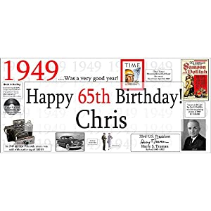 1949 - 65th Birthday Banner from Partypro