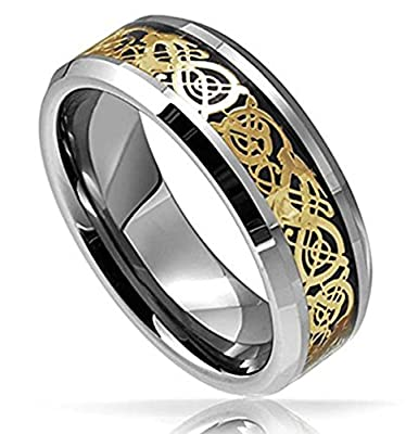 King Will Tungsten Carbide Ring Gold Plated Celtic Dragon Band - Polished Finish Comfort Fit