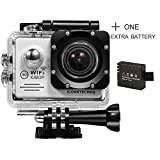 ICONNTECHS IT Full HD 1080P Sport Action Camera WIFI FHD 60 fps HDMI 14MP 170 Degree Wide Viewing Angle 2.0 Inch LCD Waterproof DV Camcorder for Extreme Outdoor Sports (Silver, 2 Batteries)