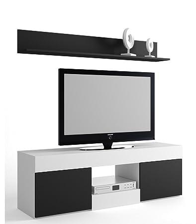 Mueble salón comedor para televisión con 2 puerta y estante superior. BLANCO Y NEGRO 150 x 49 x 40