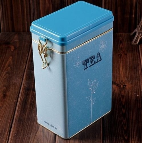 Decorations Jar with Lid Retro Large Sky Blue Tea Kitchen Coffee Tea Sealed Container Jar Tin Metal Decoration Home Decor 21.5cm X 12cm X 7.6cm 1