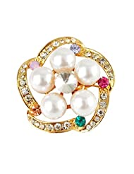 Silver Shoppee Wreath Of Passion 21K Yellow Gold Plated Cubic Zirconia And Pearl Studded Alloy Brooch