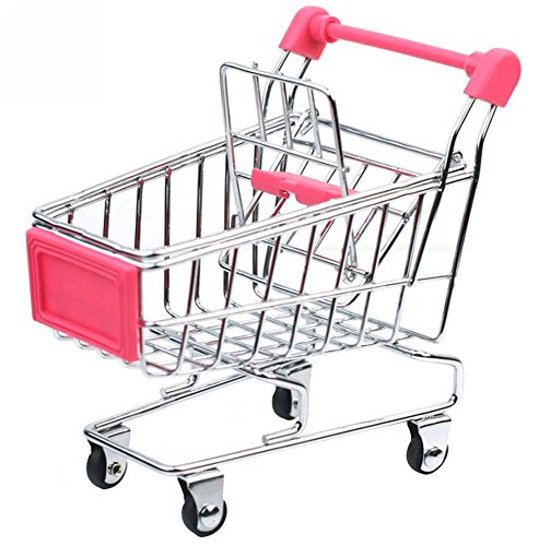 Niceeshop(Tm) Mini Supermarket Handcart Shopping Utility Cart Mode Desk Storage Toy,Pink