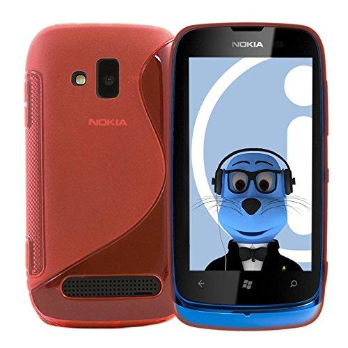 iTALKonline Nokia Lumia 610 Rosa TPU S Line Wave Hybrid Gel Skin Case Schutz Jelly Abdeckung