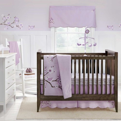 Cool Lilac Blossom Piece Baby Crib Bedding Set by MiGi