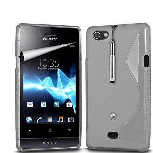 Nebel Zubehör Sony Xperia Miro ST23i stylischer S Line Wave Gel Schutzhülle, mit LCD-Displayschutzfolie, Reinigungstuch