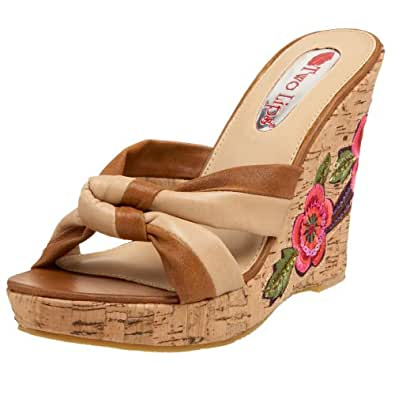 Two Lips Women's Corsage Wedge Sandal,Natural,5 M US