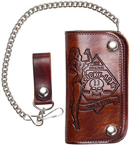 Lucky 13 Antiqued Embossed No Riders Leather Wallet With Chains