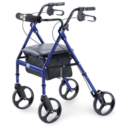 Hugo Portable Rolling Walker with Seat, Backrest and 8 Inch Wheels, Blue