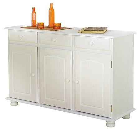 Esidra Bellflower Buffet 3 Ante con 3 Cassetti, Legno, Bianco, 130x43x87 cm