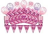 Unique Party 83104Glitz rosa Cumpleaños Suministros para fiestas Kit para 8