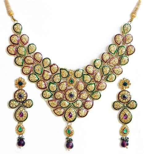 Faux Citrine, Amethyst And Emerald Studded Lacquered Necklace Set - Stone And Metal
