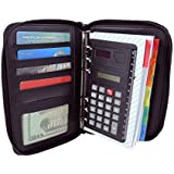 DALIX Personal Organizer Planner w File Divider and Calculator and Zippered Pockets