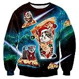 RAISEVERN Funny Pizza Cat Santa Hat Holiday Festival Pullover Sweater Sweatshirt Jumper