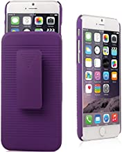 iXCC ® Ascend Series [Kickstand] Slim Hard PC Shell [Heavy Duty] Full Body Protection Slidable Cover Case [ Anti drop, Anti scratch, Anti slip, Anti shock ] with Kick-Stand Feature for Hands-Free Video Watching and Holster clip swivel for iPhone 6 (4.7-inch) [Purple]