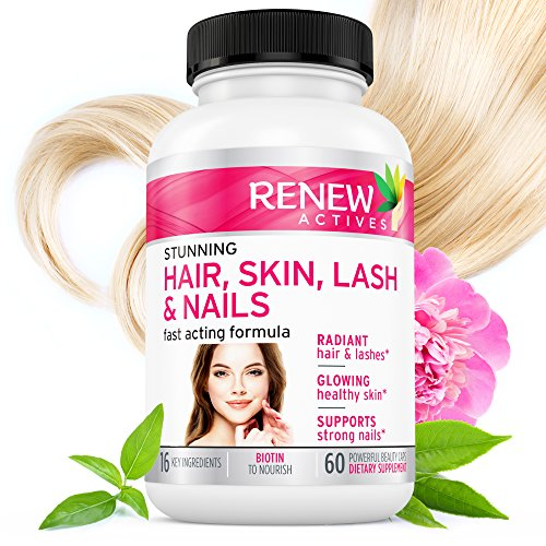 #1 BEST Hair Skin Lash & Nails Supplement! Promotes Longer Hair growth, Radiant Skin & Stronger Thicker Nails! 22 Potent Vitamins Assists Anti-Aging Skin. Stunning Results in 30 days - Guaranteed!