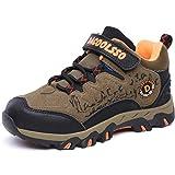 DADAWEN Kid's Waterproof Outdoor Fur Lining Hiking Athletic Running Sneakers (Toddler/Little Kid/Big Kid) Brown/Orange US Size 3 M Little Kid