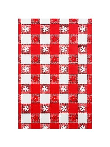 "Amscan Reusable Heavy Duty Plastic Table Cover in Gingham Check Print Fits 8' Long Tables, 54 x 108"", Red"