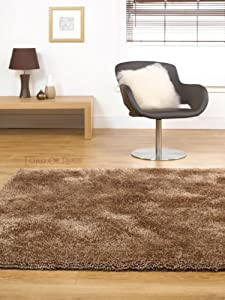 """Large Soft Thick Luxurious Shaggy Rug in Mocha Brown 160 x 220 cm (5'3"""" x 7'3"""") Carpet by Lord of Rugs"""