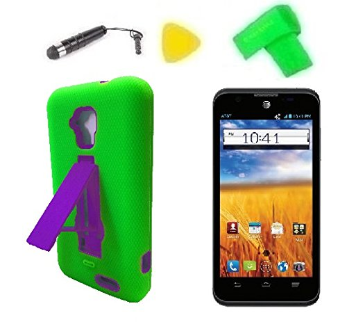 Heavy Duty Hybrid Phone Cover Case Cell Phone Accessory + Extreme Band + Stylus Pen + Lcd Screen Protector + Yellow Pry Tool For Gophone At&T Zte Mustang Z998 Prepaid (Green/Purple)