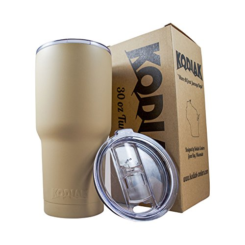 Kodiak Coolers Vacuum Insulated Tumbler Two Lids - Stainless Steel Double Wall - Thermal Coffee Travel Cup Rambler Mug - Thermos BPA Free - Compare to Yeti & Contigo - Hold Ice 24 Hours (Sand Tan 30)