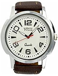 YOUTH CLUB ATTRACTIVE SILVER ANALOG WHITE DIAL MEN'S WATCH-YC-009