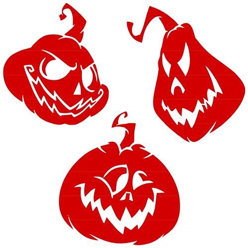 Scary Halloween Pumkins Head Vinyl Sticker Decal (Red, 6