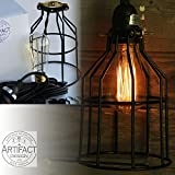 Industrial Cage Pendant Light with 15' Toggle Switch Black Plug-in Cord and Edison Bulb Included