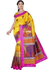 Aadarshini Women's Raw Silk Saree (110000000438, Yellow & Pink)