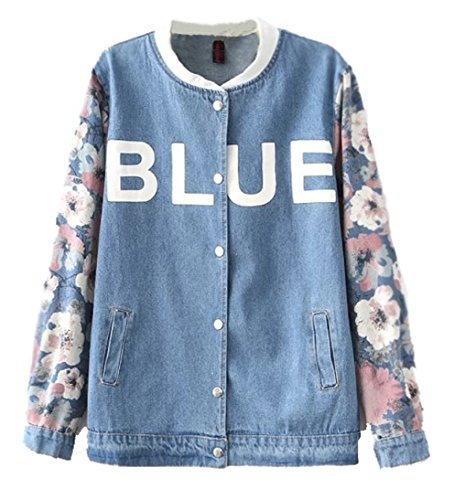 Mooncolour Womens Splice Sleeve Letter Print Denim Jersey Sweatshirt Jacket