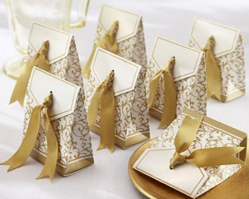 Sunvary 50 Gold Gift Boxes Candy Favor Box Wedding Decoration Party Decoration New Craft Decoration Wedding Accessories XTH010A