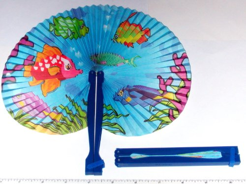 """~ 12 ~ Tropical Fish / Luau Folding Fans ~ Approx. 9.5"""" ~ Paper With Plastic Handles ~ New front-942423"""