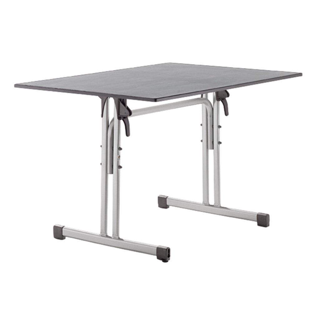 Sieger 1360-45 Gastro-Tisch mit Puroplan-Platte 120 x 80 cm, Stahlrohrgestell graphit, Tischplatte Schieferdekor hellgrau