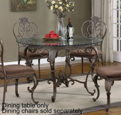 Cheap 48″ Round Dining Table Glass Top Cabriole Legs in Distressed Bronze (PW-928-410-GC4)