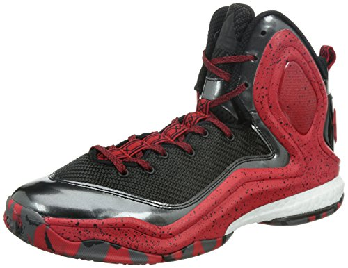 Adidas D Rose 5 Boost Scarpe da Basket, Nero/Rosso, Black /red, 10 UK
