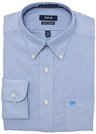 Izod men 39 s slim fit oxford dress shirt blue 15 32 33 at for Izod shirt size chart