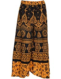 Havya Fashion Women's Cotton Jaipuri Print Plazo Palazzo (Yellow With Black, 32)