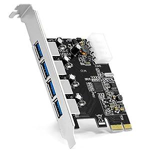 CSL - 4-Port USB 3.0 (Super Speed) Karte PCIe Express Controllerkarte | Schnittstellenkarte USB 3.0 | Neues Modell / Neue Treiber | USB Hub intern