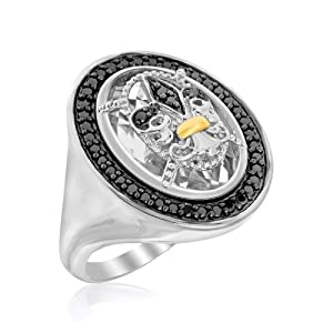 18K Yellow Gold & Sterling Silver Fleur De Lis Oval Rock Crystal Accented Ring