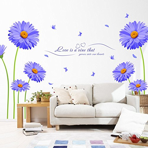Woooow® DIY Blue flowers Removable Mural PVC Wall Art Decal Sticker
