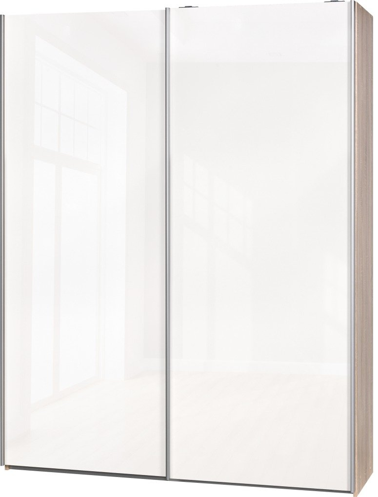 Schwebetürenschrank Soft Plus Smart Typ 41″, 150 x 194 x 42cm, Eiche/2 x Weiß hochglanz